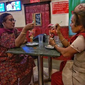 Enjoying life at Chidambaram's New Madras Hotel.